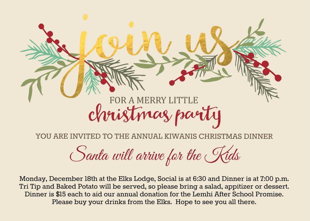 Kiwanis Christmas Party/Dinner @ Elks Lodge